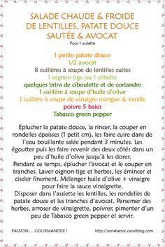 ASSIETTE CHAUDE & FROIDE DE LENTILLES, PATATE DOUCE SAUTÉE & AVOCAT - PASSION ... GOURMANDISE !