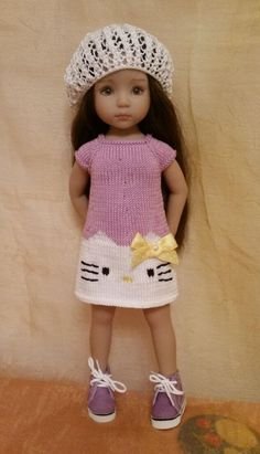 """Lavender HELLO KITTY SUMMER outfit for Dianna Effner Little Darling 13"""""""