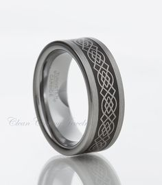 Personalized Tungsten Carbide Wedding Band- Ring Black Enamel Plated With Celtic Knot Laser Engraved  8mm(15 Letters Free Engraving)