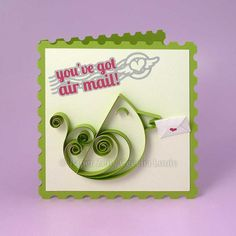 Paper Quilling Tutorial and Pattern - You've Got Air Mail Bird Greeting Card - SVG Files for electronic cutting machines (Cricut/Silhouette)