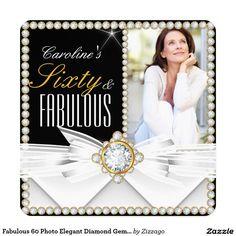 Fabulous 60 Photo Elegant Diamond Gem Birthday 5.25x5.25 Square Paper Invitation Card