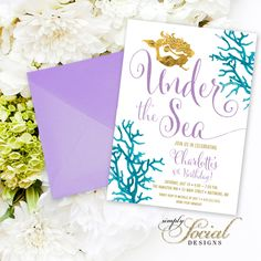 Under the Sea Mermaid Birthday Party Invitation - Boho Swimming Party Invitation Purple Coral Faux Gold Foil Beach Invitation Watercolor by SimplySocialDesigns on Etsy https://www.etsy.com/listing/269219590/under-the-sea-mermaid-birthday-party