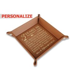 56b06ace7451 PERSONALIZE-3 years as husband and wife- 3-years Anniversary gift-Wedding Leather  Tray Third Anniversary Gift-Engraved Leather