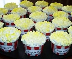 movie night birthday party...popcorn cupcakes