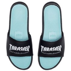 HUF Thrasher Slides (231840 PYG) ❤ liked on Polyvore featuring shoes, huf, huf shoes and huf footwear