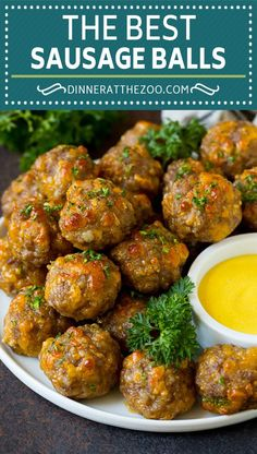 This sausage balls recipe is a blend of pork sausage, cheddar cheese, bisquick and seasonings, all formed into balls and baked to golden brown perfection. A classic appetizer recipe that's great for feeding a crowd!