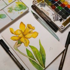 Hi friends! Today I am going to show you how to draw and paint this daffodil: All you need is a waterproof pen, watercolor paint and watercolor paper! Let's get started! Video Supplies: Koi W…