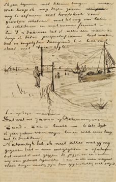 Van Gogh's letter, most artists would either draw on their letters or really draw on their letters on top of the print.
