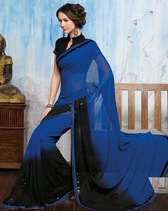 Royal Blue and Black Georgette Saree  To get this or see more, check out our online store: www.99labels.com Cash on order delivery and 0% EMI options for easy payments available!!