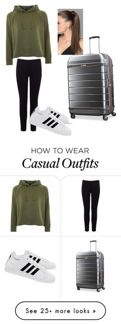 """""""Comfy and Casual Airplane Ride"""" by cc14848 on Polyvore featuring Warehouse, Topshop, adidas, Hartmann and airportstyle"""