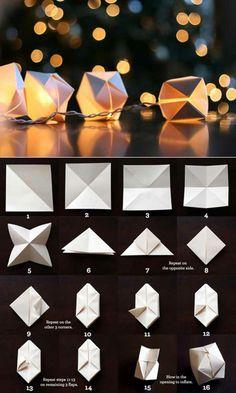 une guirlande lumineuse led en origami, les étapes de pliage papier à suivre pour faire des ballons origami gonflables