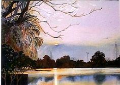"Winter, Bayou St. John by Lou Jordan Watercolor ~ 15"" x 22"""