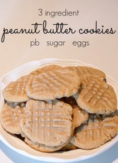 Easiest peanut butter cookies ever! Only 3 ingredients - peanut butter, sugar and eggs. No flour! Perfect for cooking with kids!