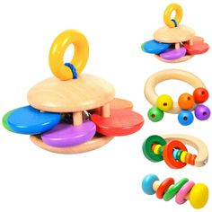 Baby Infant Wood Rattles Wooden Shaker Toy Musical Hand Bell Party Toys Gift FI