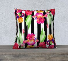 Black and White Stripe Watercolor Orchids Pillow Cover, Velveteen Throw Pillow Cover, Large Sofa Pillow,  Black and White Decorative Pillow