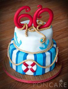 Celebrate a nautical spirit with Palmer's summery, sailing-themed cakes. Cupcakes, Cake Cookies, Cupcake Cakes, Bithday Cake, 60th Birthday Cakes, Pretty Cakes, Beautiful Cakes, Lighthouse Cake, Marine Cake