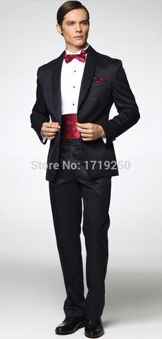 New Style Back Vent One Button Black Groom Tuxedos Shawl Collar Best Man Groomsmen Men Wedding Suits (Jacket+Pants+Girdle+Tie)