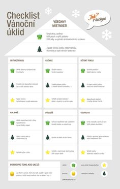 Vánoční úklid za jedno odpoledne. Organization Lists, Organisation Hacks, Home Helpers, Home Hacks, Holidays And Events, Cleaning Hacks, How To Plan, My Dream Home, Infographic