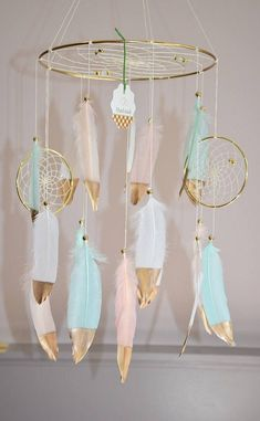 Pink and Mint Boho Mobile Baby Mobile Nursery Mobile Dream Catcher, Mint and Pink Nursery Decor, Baby Mobile Girl Baby Shower Boho Nursery Dream Catcher Nursery, Dream Catcher Mobile, Feather Dream Catcher, Dream Catcher Boho, Dream Catchers, Large Dream Catcher, Bohemian Nursery, Woodland Nursery Decor, Woodland Baby