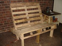 Two pallets, a few wood scraps, screws, nails and add a cushion! Outdoor couch!
