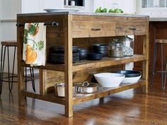 Think beyond ready-made kitchen islands and store-bought carts. Make a statement in your kitchen with ideas from these upcycled, DIY, space-saving and otherwise unusual designs.