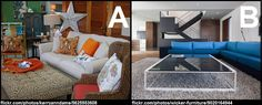 Which living room style do you like better? A: comfy and cozy with warm colours or B: sleek and modern with cool tones?