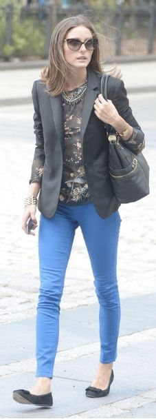 Outfit Posts: outfit post: blue cropped pants, black & gold patterned blouse, black jacket