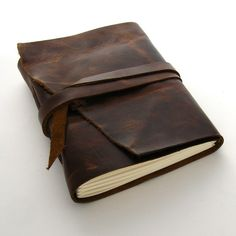 Handmade Leather Journal The Rugged Traveler by peaseblossomstudio