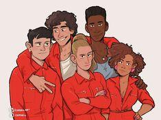 The original Misfits gang: Simon, Nathan, Kelly, Curtis, and Alisha. Misfits Series, Misfits Tv, Character Concept, Character Art, Concept Art, Nathan Misfits, Storyboard, Art Sketches, Art Drawings