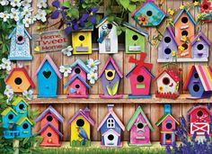 New Diamond Painting Kits, Bird Houses Diamond Painting Kits. A Beautiful splash of color and relaxation. This Bird House Diamond Painting is sure to not only look great but also become a great conversation piece. Bird Houses Painted, Decorative Bird Houses, Bird Houses Diy, Painted Birdhouses, Wood Crafts, Diy And Crafts, Homemade Bird Houses, Mosaic Kits, Birdhouse Designs