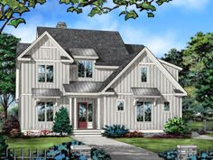 HOUSE PLAN 1494 – NOW IN PROGRESS - HousePlansBlog.DonGardner.com – Conceptual house plan 1494 is a two-story Urban Farmhouse design with four bedrooms and optional living space for future expansion. #dreamhomeplan #dreamhouseplan #homeplan