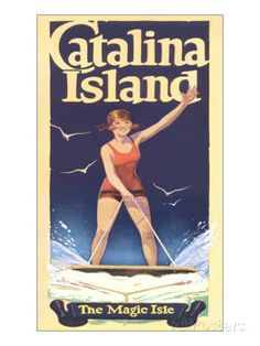 Woman Surfing on Catalina Island Poster at AllPosters.com