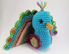 Poppy the Peacock, Crocheted Amigurumi