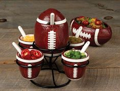 Cute decor for tailgating, or even a Super Bowl party! Would be perfect for baja taco fixins! Football Crafts, Football Tailgate, Football Birthday, Tailgate Food, Football Food, Football Season, Tailgating, 26th Birthday, Football Memes