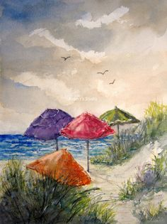 Beach Umbrella Print of a Watercolor Seascape Painting por RPeppers