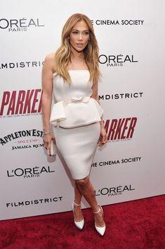 Jennifer Lopez's New York City Parker Premiere Lanvin Ivory Strapless Peplum Dress