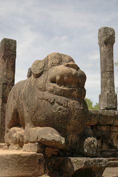 Polonnaruwa Quadrangle, Sri Lanka Stone Lion, Fu Dog, Beautiful Islands, Ancient History, Continents, Asian Art, Sri Lanka, Lion Sculpture, Griffins