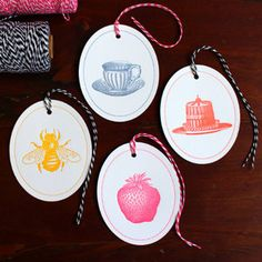 Image of Time for Tea Oval Gift Tag Set - four different designs