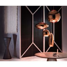 Copper Shade Round Canopy With Fan Table Natural Stack Vessel Medium Boucle Throw 2 Tom Dixon Copper Pendant Lights, Copper Lamps, Round Pendant, Pendant Lamp, Pendant Lighting, Brass, Dome Ceiling, Ceiling Light Design, Ceiling Rose