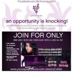 Want to be your own boss and make more money than you have ever dreamed of?  My team is one of the most successful MLM teams out there!  Younique is the number 1 MLM company in the WORLD!!!  Join my team today if you want to be a shooting star and make millions within a few years!  Only serious hard workers wanted.  Go to my website and 'Join my team' today! www.youniqueproducts.com/JessicaCalder :D