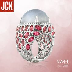 """Thrilled to see our moonstone, diamond and pink spinel ring make an appearance in JCK Publishing Group's """"Friday 5: The Everlasting Cocktail Ring"""" story."""