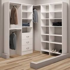 TidySquares White Wood 93 x Corner Walk-in Closet System (White)(Laminate) Corner Closet Organizer, Small Closet Organization, Wardrobe Storage, Closet Storage, Front Closet, Closet Rod, Walk In Closet, Closet Layout, Hanging Closet