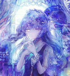 Pretty Anime Girl, Cool Anime Girl, Beautiful Anime Girl, Kawaii Anime Girl, Anime Art Girl, Manga Anime, Manga Girl, Anime Chibi, Blue Anime