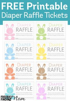 Need a fun game for a baby shower or a child's first birthday party? Send these free printable diaper raffle tickets with the party invitations asking guests to bring a pack of diapers in exchange for a chance to win a prize. Viola! Guests are excited about snagging a prize, and mom saves money on diapers. It's a win win!