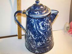 Blue swirl graniteware