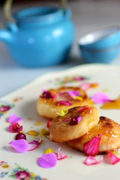 A Sweet Treat - rice tea cakes with honey and edible flower petals. #GlutenFree