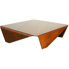 Low geometric bent plywood coffee table by Jorge Zalszupin
