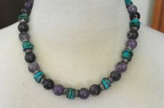 """Vintage  20"""" Chunky Sugilite Manganese Turquoise Silver tone Bead Necklace #Unbranded"""