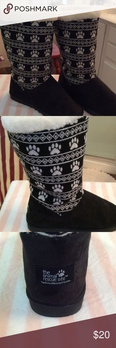 Puppy Paw Long Boot From the animal rescue site comes these soft and luscious boots.  Suede foot with puppy paws on top.  Soft faux fur inside.  Rubber soles.  Worn once.  Women's 10 For The Greater Good Shoes Winter & Rain Boots