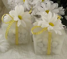 Flower Wedding Favor Boxes (filled with personalized hersheys kisses)